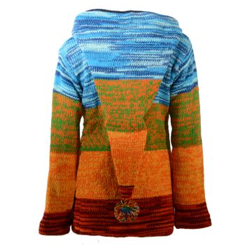 Kunst und Magie Women Rainbow Cardigan Goa Jacket Wool with Elfin Hood – Bild 2