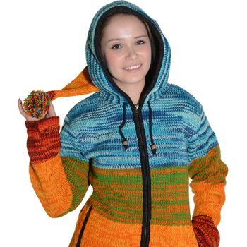 Kunst und Magie Women Rainbow Cardigan Goa Jacket Wool with Elfin Hood – Bild 9