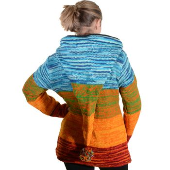 Kunst und Magie Women Rainbow Cardigan Goa Jacket Wool with Elfin Hood – Bild 10