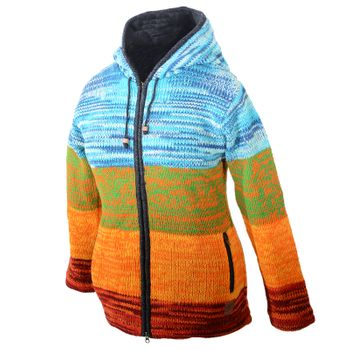 Kunst und Magie Women Rainbow Cardigan Goa Jacket Wool with Elfin Hood – Bild 8