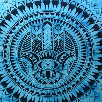 "Kunst und Magie Wandbehang ""Hand der Fatima"" Mandala Dekotuch Tagesdecke Hamsa ca. 200 x 135 cm – Bild 2"