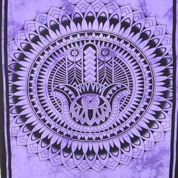"Kunst und Magie Wandbehang ""Hand der Fatima"" Mandala Dekotuch Tagesdecke Hamsa ca. 200 x 135 cm – Bild 4"
