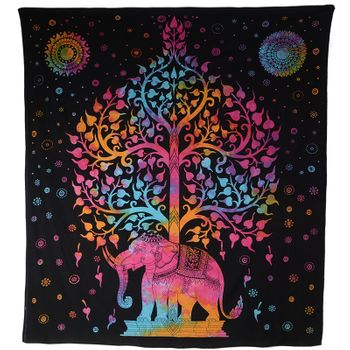 Kunst und Magie Wall hanging elephant and tree approx. 90.5 x 78.5 inch