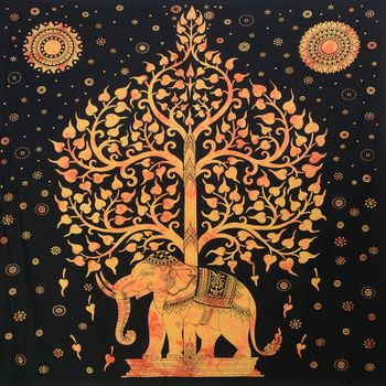 Kunst und Magie Wall hanging elephant and tree approx. 90.5 x 78.5 inch – Bild 2