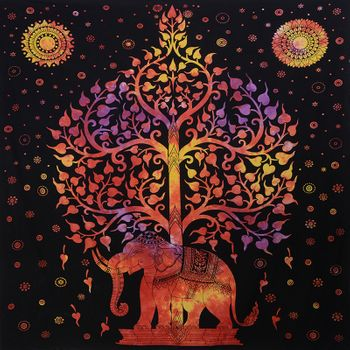 Kunst und Magie Wall hanging elephant and tree approx. 90.5 x 78.5 inch – Bild 5
