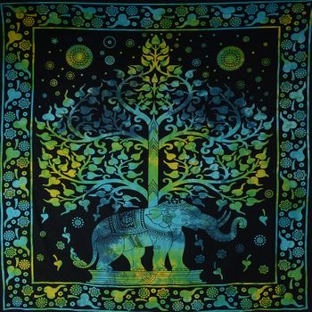 Kunst und Magie Wall hanging elephant and tree approx. 90.5 x 78.5 inch – Bild 1