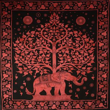 Kunst und Magie Wall hanging elephant and tree approx. 90.5 x 78.5 inch – Bild 3