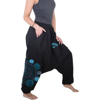 Kunst und Magie Women Harem Pants Cotton Goa wellness pants with embroidery – Bild 2