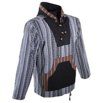 Kunst und Magie Nepal Baja Jerga Sweatshirt Poncho with fleece lining hood – Bild 9