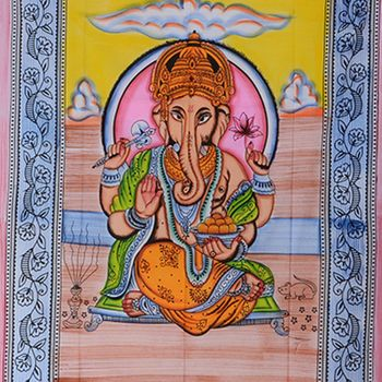 Kunst und Magie Wandbehang Ganesha UV-Aktives Dekotuch Glow in the dark 230 x 210 cm  – Bild 2