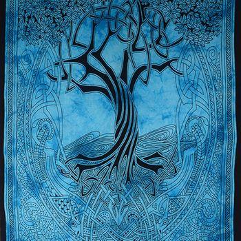 """Kunst und Magie Wandbehang """"Keltischer Baum"""" Dekotuch Tagesdecke ca. 200 x 135 cm – Bild 2"""