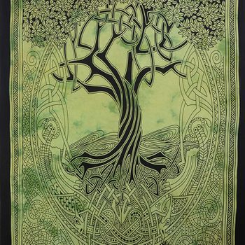 """Kunst und Magie Wall hanging """" CelticTree of Life""""  100 % cotton approx. 78.5 x 53 inch – Bild 4"""