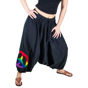 Kunst und Magie Lady Cotton Harem Pants with PeaceSymbol