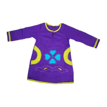 "Colorful Kids-Shirt with Patchwork Embroidered ""Giraffe"" Hippie Goa – Bild 2"