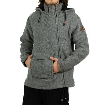 Unisex Wool Knit Jacket Hippie Goa With Elfin Hood – Bild 7