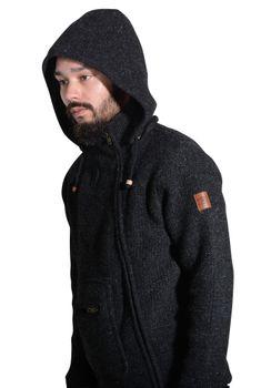 Unisex Wool Knit Jacket Hippie Goa With Hood – Bild 3