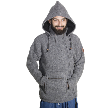 Unisex Wool Knit Jacket Hippie Goa With Elfin Hood – Bild 10