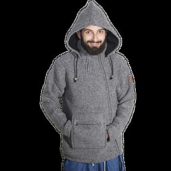 Unisex Wool Knit Jacket Hippie Goa With Hood – Bild 10