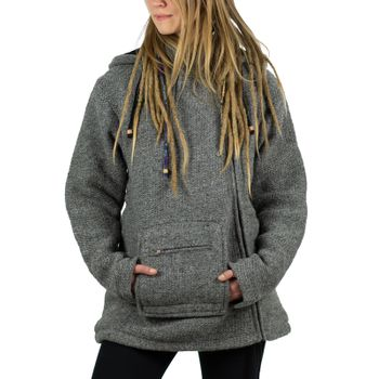 Unisex Wool Knit Jacket Hippie Goa With Elfin Hood – Bild 13