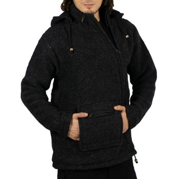 Unisex Wool Knit Jacket Hippie Goa With Elfin Hood – Bild 3