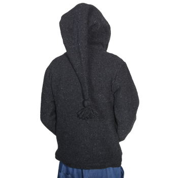 Unisex Wool Knit Jacket Hippie Goa With Elfin Hood – Bild 7