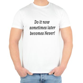 "Kunst und Magie Herren T-Shirt  mit Spruch ""Sometimes Later becomes Never"" – Bild 3"