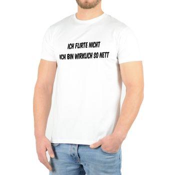 """Kunst und Magie Herren T-Shirt  mit Spruch """"Ich flirte nicht ich bin wirklich so nett"""" – Bild 4"""