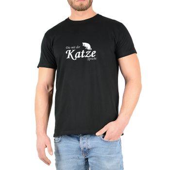 """Kunst und Magie Herren T-Shirt  mit Spruch """"Die mit der Katze spricht"""" – Bild 2"""