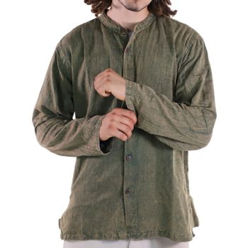 KUNST UND MAGIE Men's casual stonewashed alternative fisherman shirt casual shirt – Bild 9
