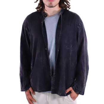 KUNST UND MAGIE Men's casual stonewashed alternative fisherman shirt casual shirt – Bild 3