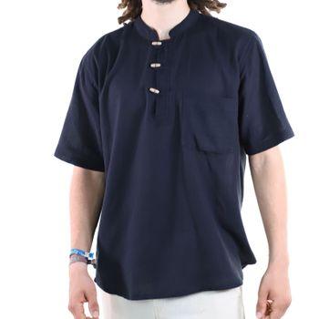 KUNST UND MAGIE Herren Hemd unifarben kurzarm Fischerhemd Freizeithemd – Bild 15