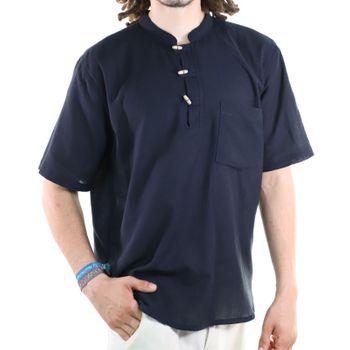 KUNST UND MAGIE Herren Hemd unifarben kurzarm Fischerhemd Freizeithemd – Bild 16