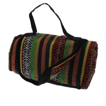Kunst und Magie handgewebte Familien Picknickdecke mit Azteken Muster mit Tragegriff – Bild 1