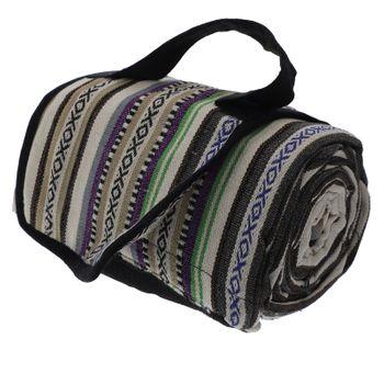 Kunst und Magie handgewebte Familien Picknickdecke mit Azteken Muster mit Tragegriff – Bild 14