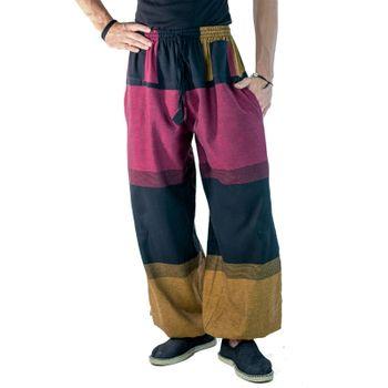 KUNST UND MAGIE Damen Yogahose Pumphose Pluderhose mehrfarbig aus Baumwolle lang
