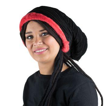Kunst und Magie Mütze Hut aus Samt und Plüsch Boho Dreadtube 2in1 – Bild 3