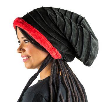 Kunst und Magie Mütze Hut aus Samt und Plüsch Boho Dreadtube 2in1 – Bild 10