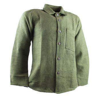 KUNST UND MAGIE Herren Hemd unifarben Fischerhemd Freizeithemd – Bild 10