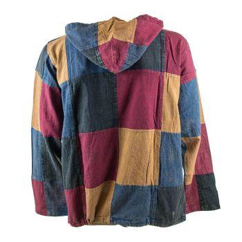 KUNST UND MAGIE Herren bunt alternativ Baja Hoodie Fischerhemd Kapuze Patchwork  – Bild 2