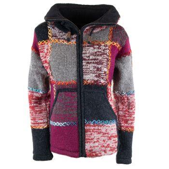 Damen Strickjacke Goa Wolle Bunte Patchwork  Jacke mit Fleecefutter und Hochkragen  – Bild 5