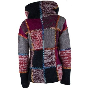 Damen Strickjacke Goa Wolle Bunte Patchwork  Jacke mit Fleecefutter und Hochkragen  – Bild 3