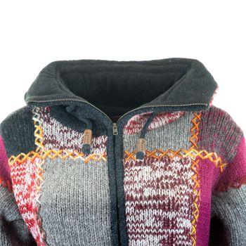 Damen Strickjacke Goa Wolle Bunte Patchwork  Jacke mit Fleecefutter und Hochkragen  – Bild 6