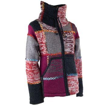 Damen Strickjacke Goa Wolle Bunte Patchwork  Jacke mit Fleecefutter und Hochkragen  – Bild 4