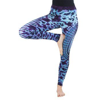Kunst und Magie Damen Yoga Leggings Atmungsaktive Tie Dye Batik Yogahose – Bild 9