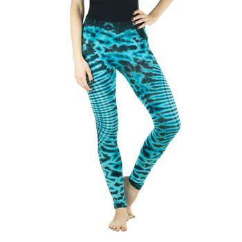 Kunst und Magie Damen Yoga Leggings Atmungsaktive Tie Dye Batik Yogahose – Bild 3