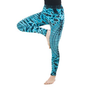 Kunst und Magie Damen Yoga Leggings Atmungsaktive Tie Dye Batik Yogahose – Bild 6