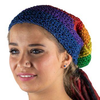 Kunst und Magie Beanie Mütze aus Hanf Häckelmütze Rainbow Hippie  – Bild 4