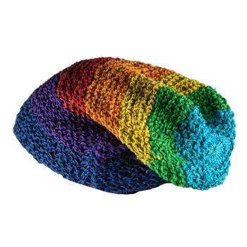 Kunst und Magie Beanie Mütze aus Hanf Häckelmütze Rainbow Hippie  – Bild 1