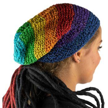 Kunst und Magie Beanie Mütze aus Hanf Häckelmütze Rainbow Hippie  – Bild 3