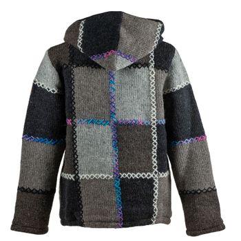 Herren  Strickjacke Patchwork Wolle Jacke mit abnehmbarer Kapuze und Baumwollfutter – Bild 2